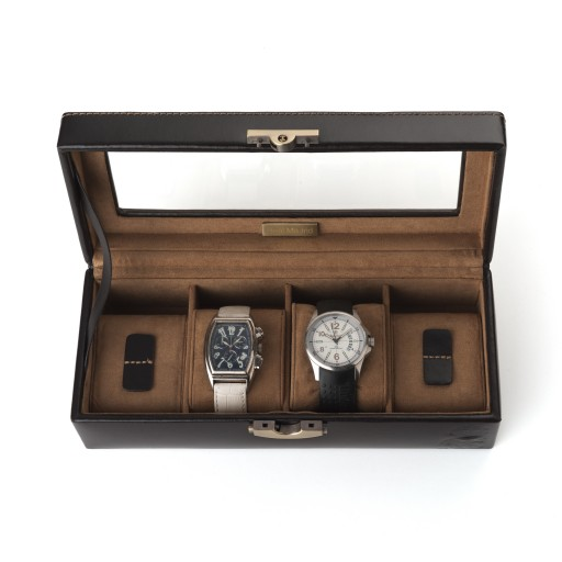 Leather Watch Box 4 Watches Brown Real Madrid
