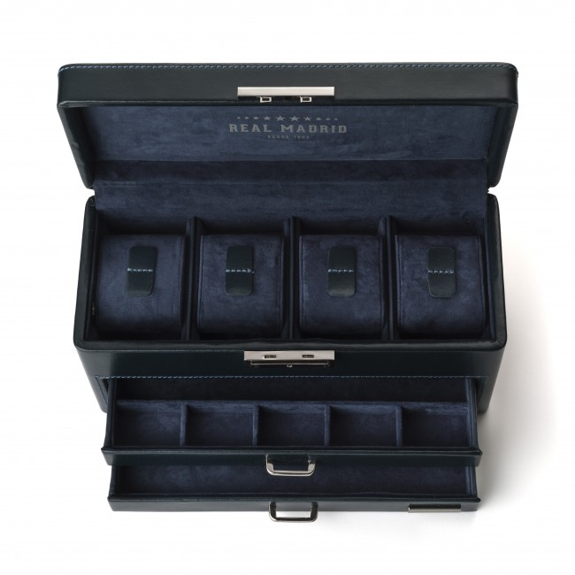 MENS LEATHER WATCH BOX BLUE