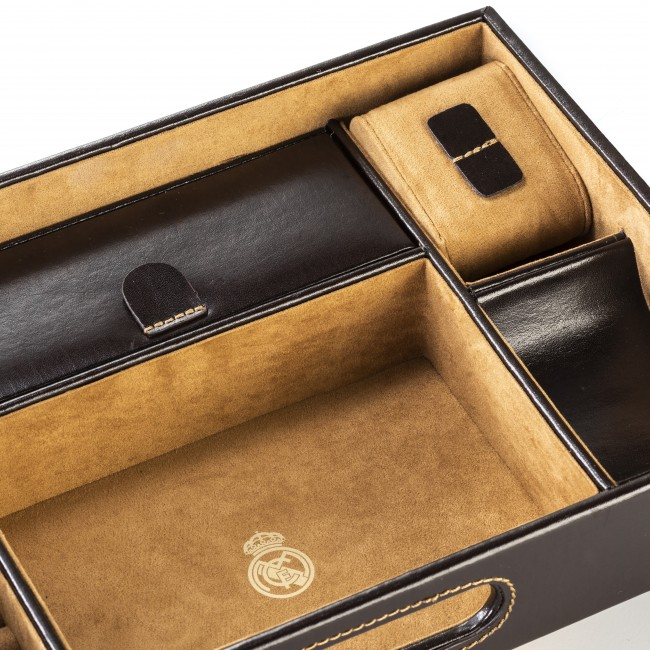 Leather Desktop Valet Tray Brown Real Madrid