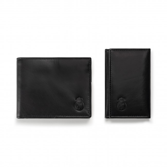 Mens Genuine Leather Wallet with matching Key pouch black