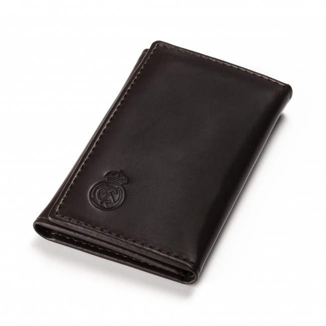 Cartera y Estuche Portallaves de Piel Real Madrid Premium marron