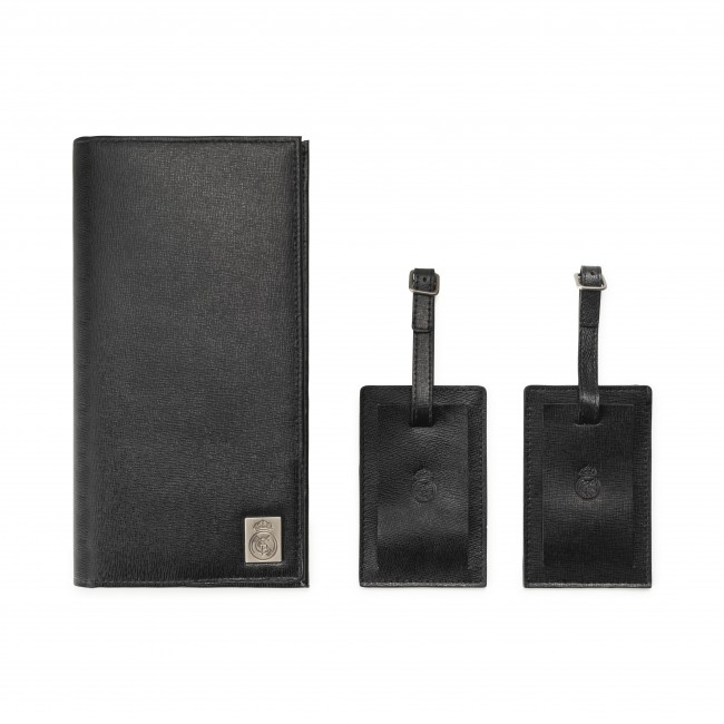 Mens Genuine Leather Travel Wallet with two matching luggage tags black