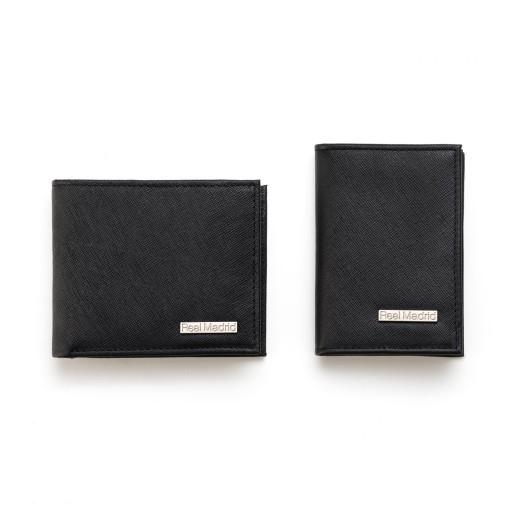 Mens Genuine Leather Wallet with matching Card case BLACK Saffiano