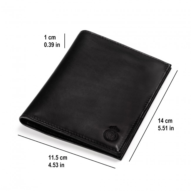 Mens Genuine Leather Passport carrier with matching small wallet BLACK